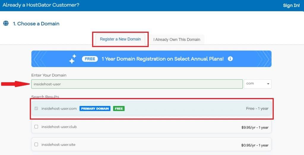 Registre su dominio gratuito