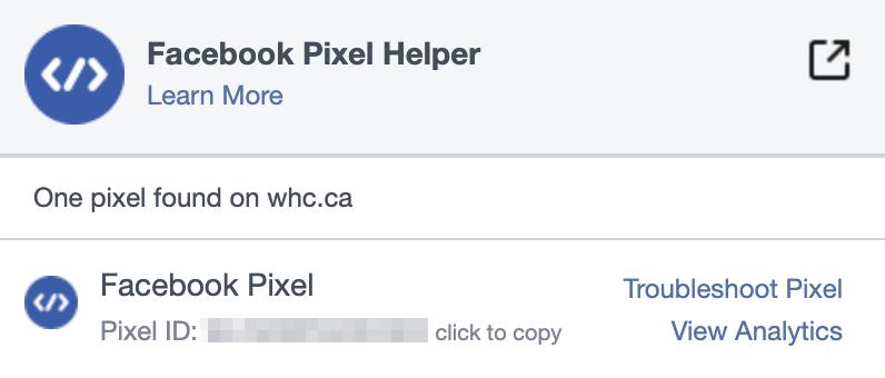 Resultado de Facebook Pixel Helper