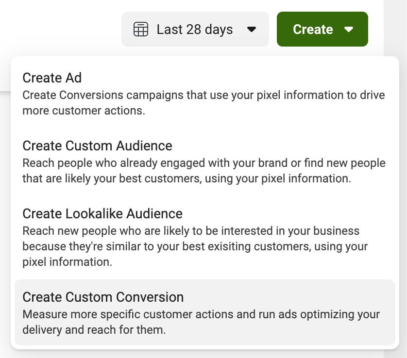 Crear conversión personalizada