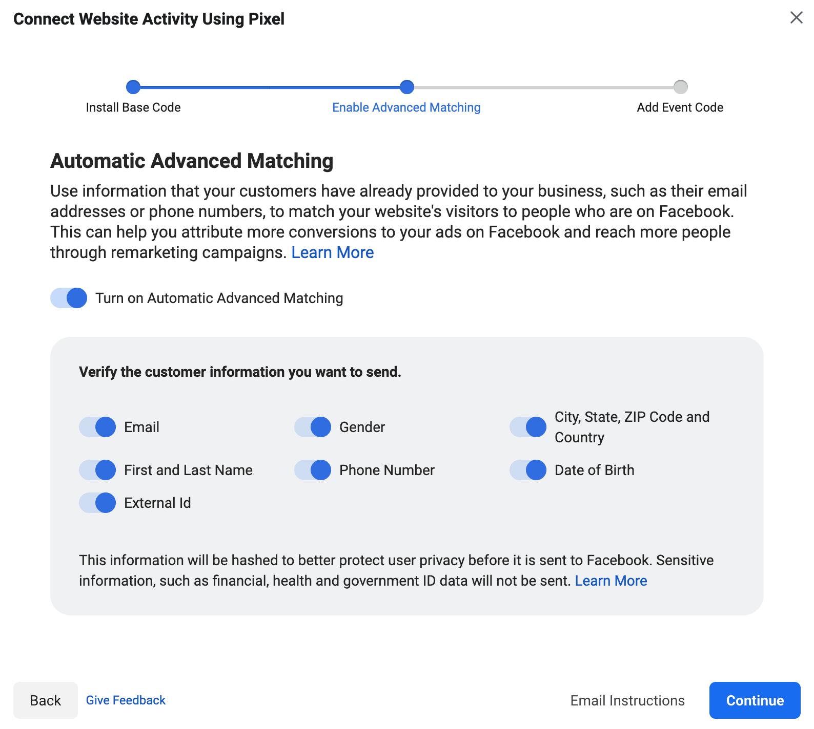 Coincidencia avanzada automática