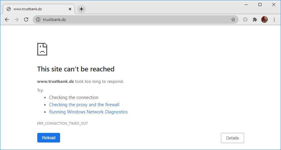 Mensaje de error de Chrome que indica que no se puede acceder al sitio.