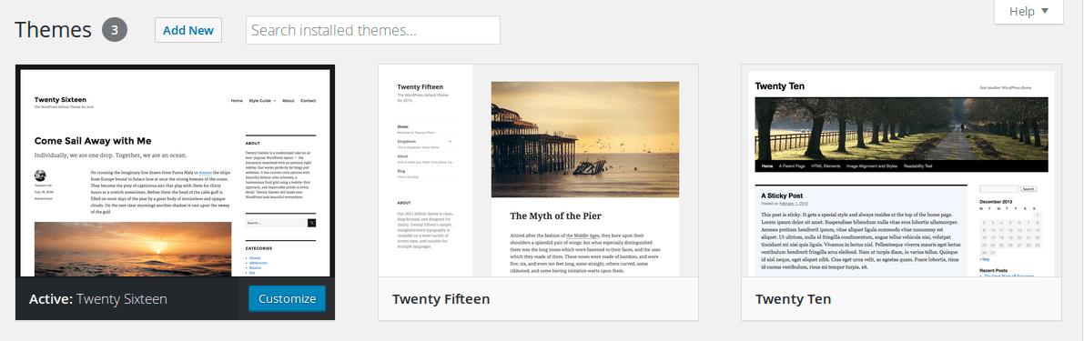 Menú de temas de WordPress que muestra una vista previa de todos los temas descargados.