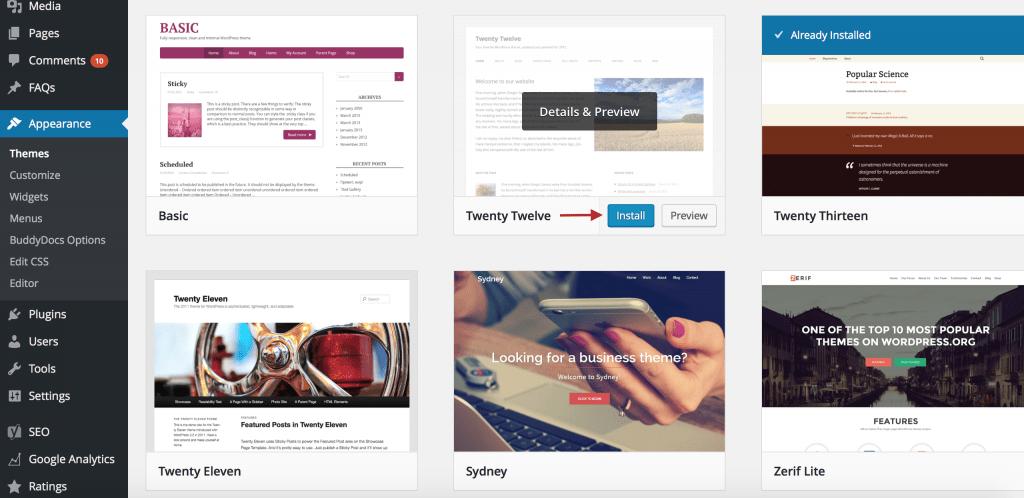 Capturas de pantalla de usuarios que instalan un nuevo tema de WordPress.