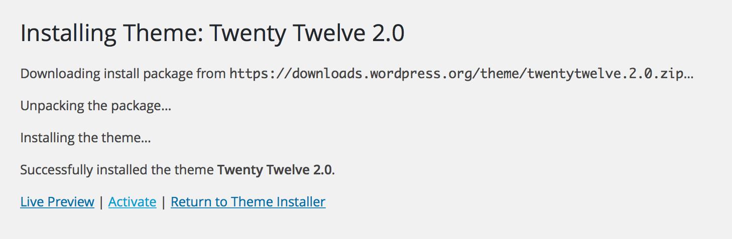 Un menú de temas con un botón de activación para activar un tema de WordPress ya instalado.