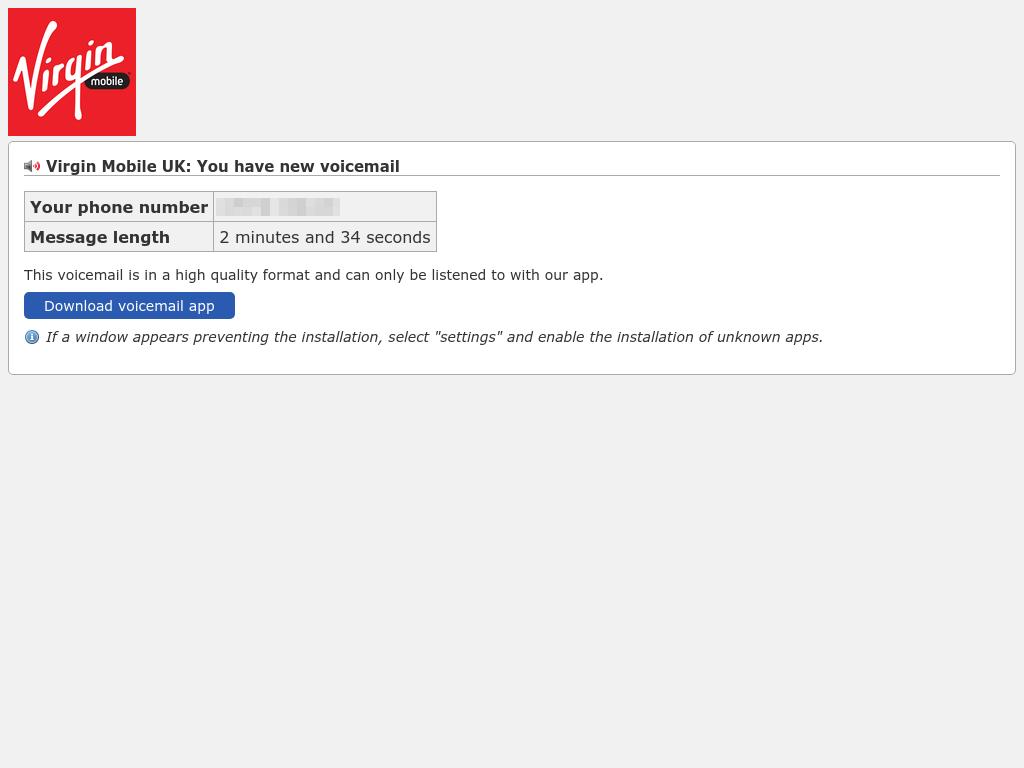 Página falsa de señuelo de Virgin Mobile que pide a los usuarios que descarguen la & lsquo; aplicación de correo de voz & rsquo;